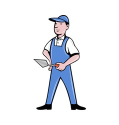 Brick layer mason plasterer worker standing vector