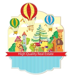 City town with hot air balloon card vector
