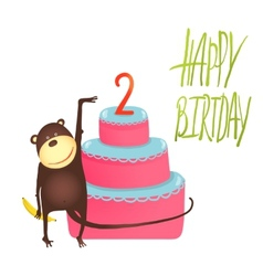 Monkey cake two years old with happy birthday vector
