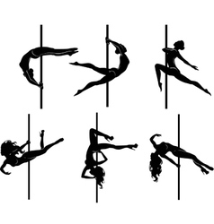 Six pole dancers vector