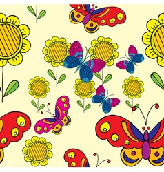 Sunflower  butterflies vector