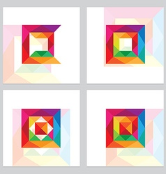 3d low polygon square logos vector