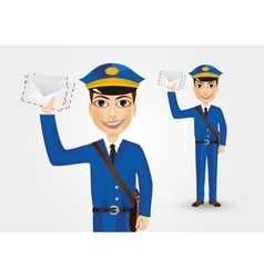 Postman-holding-envelopes vector