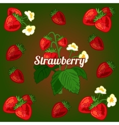 Card with strawberries on a green background vector