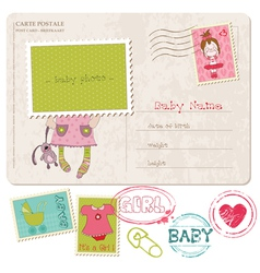 baby girl greeting postcard vector image