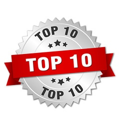 top 10 3d silver badge with red ribbon vector image