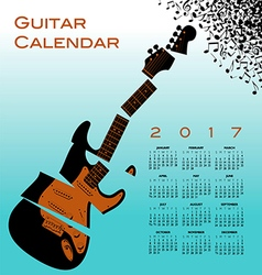 A 2017 calendar with a shredded guitar vector image vector image