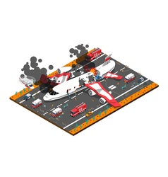 Airplane crash isometric composition vector