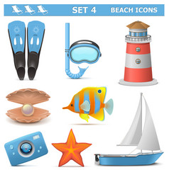 Beach Icons Set 4 vector image