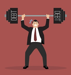 Businessman lifting a heavy weight debt vector