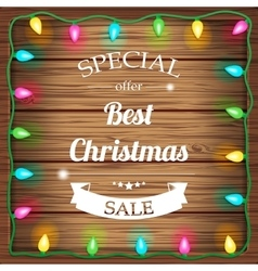 Christmas sale on wooden background with christmas vector image vector image