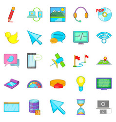 connecting to database icons set cartoon style vector image