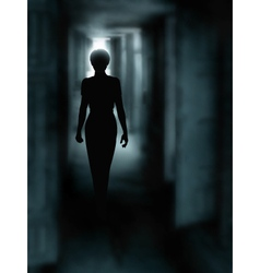 Dark corridor vector