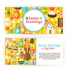 Easter greetings flat style templates set vector