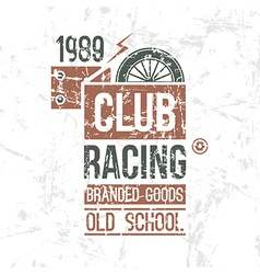 Emblem racing club old school vector image vector image