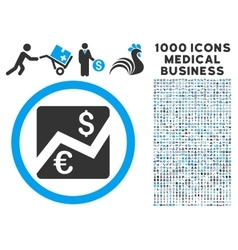 Euro Dollar Chart Icon with 1000 Medical Business vector image