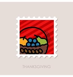 Fruit basket stamp harvest thanksgiving vector