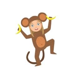 Girl Wearing Monkey Animal Costume vector image vector image