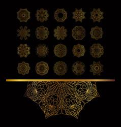 golden vintage round patterns on black vector image vector image
