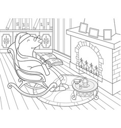 Grandpa mole in his own house in the library vector