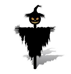 halloween scarecrow with pumpkin vector image