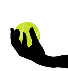 Hand silhouette holding a tennis ball vector
