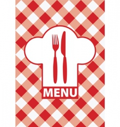 menu card red gingham vector image vector image