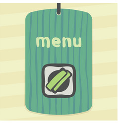 outline sushi rice roll with green grass japan vector image vector image