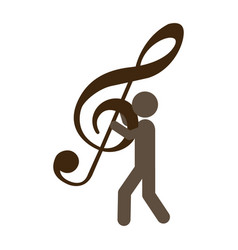 Person with musical sign in his hands vector