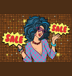 Sale shopaholic diva a beautiful young woman vector