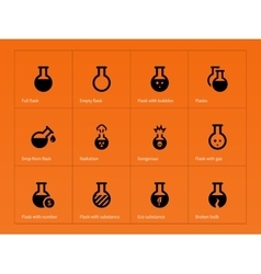 Science flask icons on orange background vector