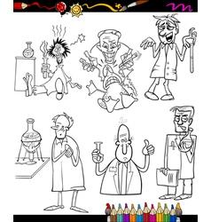 scientists set cartoon coloring book vector image