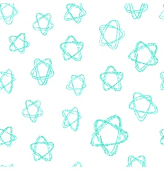 Seamless pattern - hand drawn azure stars vector