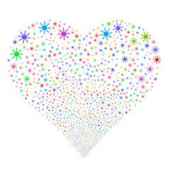 Sun fireworks heart vector