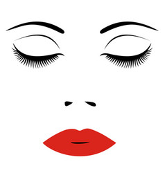 Woman face with red lips and closed eyes for vector