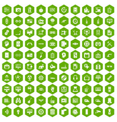 100 settings icons hexagon green vector