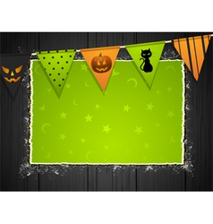 halloween background with bunting on wood vector image