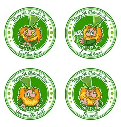 Set of four round stickers with leprechauns for St vector image