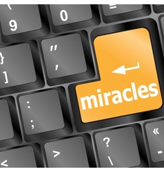 Computer keyboard with miracles text vector