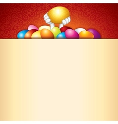 Easter background bunny and heap of painted eggs vector