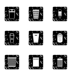Trash can icons set grunge style vector