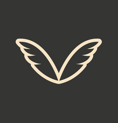 flat in black and white mobile application wings vector image
