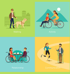 Disabled people square concept vector