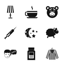 Bed time rest icon set simple style vector
