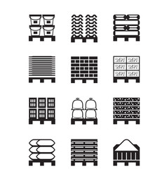 Pallets with different building materials vector
