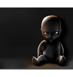 Doll on dark background vector image