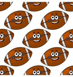 Seamless pattern of cartoon American footballs vector image
