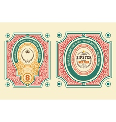 Baroque cards with ornaments and floral details vector