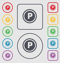 Car parking icon sign symbol on the round and vector