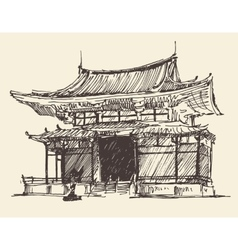 Sketch chine japan landmark vintage vector